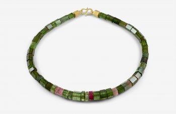 Colliers: grüne Turmalinkette, 750er-Gold