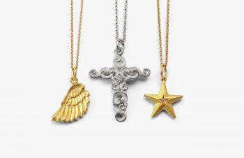 Klassische Anhänger: Flügel, Kreuz, Stern, 750er Gold