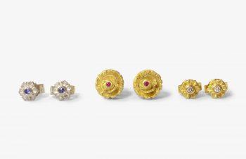 Klassischer-Ohrschmuck: Blüten, 750er Gold