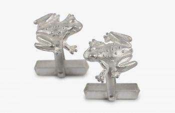 Manschettenknöpfe: Frösche, 925er Silber