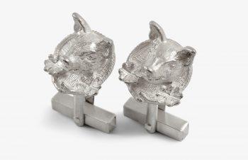 Manschettenknöpfe: Glücksschwein, 925er Silber