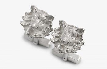 Manschettenknöpfe: Wildschwein, 925er Silber