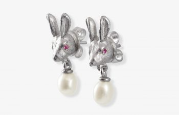 Tier-Ohrringe: Hase, Silber. Perle, Saphir