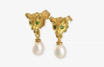 Tier-Ohrringe: Maus, Perle, Tsavorit, 750er Gold