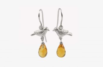 Tier-Ohrringe: Vogel, Silber, Citrin