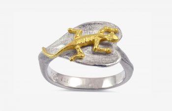 Tier-Ringe: Echsenring, Silber, 750er Gold