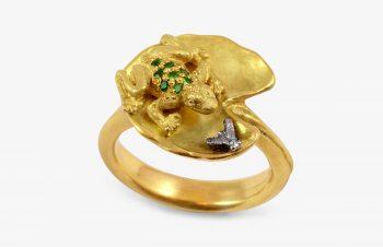Tier-Ringe: Froschring, 750er Gold, Tsavorit