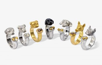 Tier-Ringe: Hunderinge, 750er Gold, Silber