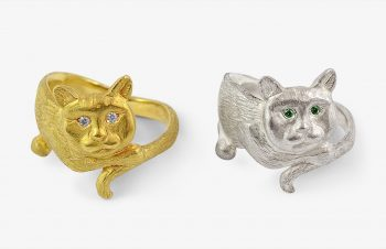 Tier-Ringe: Katzenring, 750er Gold, Silber