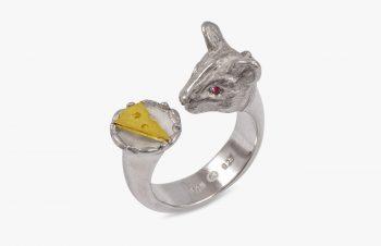 Tier-Ringe: Mausering, Silber, 750er Gold
