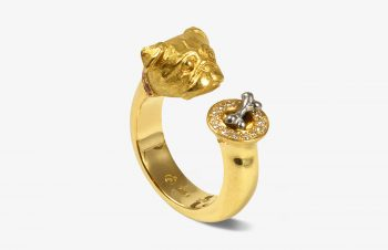 Tier-Ringe: Mopsring, 750er Gold, Diamanten