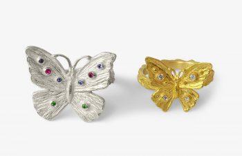 Tier-Ringe: Schmetterlingring, Silber, 750er Gold