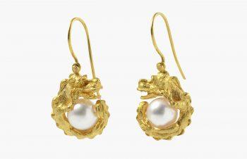 Tier-Ohrringe: Drache mit Perle, 750er Gold