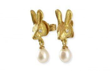 Tier-Ohrringe: Hase, 750er Gold, Perle