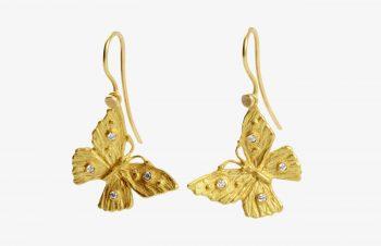 Tier-Ohrringe: Schmetterling, 750er Gold, Diamanten