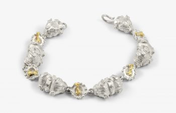 Tier-Armbänder: Hunde mit Napf, 750er Gold, Silber