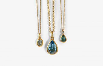 Klassische Anhänger: Aquamarin,750er Gold