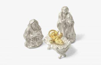 Weihnachtskrippe: Maria, Josef, Jesuskind, Silber, 750er Gold,