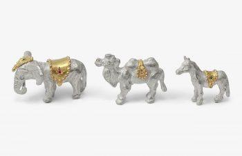 Weihnachtskrippe: Elefant, Kamel, Pferd, Silber, 750er Gold, Edelsteine