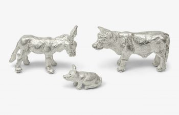 Weihnachtskrippe: Esel, Schwein, Ochse, Silber, 750er Gold