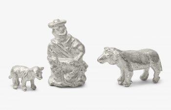 Weihnachtskrippe: Hirte und Schafe, Silber, 750er Gold