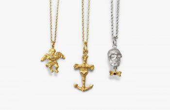Klassische Anhänger: Engel, Glaube-Liebe-Hoffnung, Totenkopf, 750er Gold, Silber