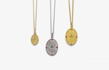 Klassische Anhänger: Sterntaler, 750er Gold, Silber, Edelsteine