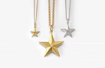 Klassische Anhänger: Stern, 750er Gold, Silber; Diamant