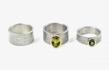 Klassische Ringe: Peridot, Aquamarin, 750er Gold