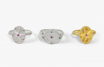 Klassische Ringe: Diamant, Saphir, Tsavorit, 750er Gold, Silber