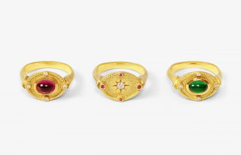 Klassische Ringe: Turmalin, Diamant, Smaragd, 750er Gold