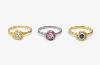 Klassische Ringe: Diamant, Saphir, 750er Gold