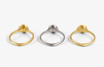 Klassische Ringe: Rückansicht, Diamant, 750er Gold