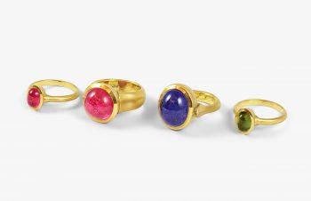 Klassische Ringe: Turmalin, Tansanit, 750er Gold