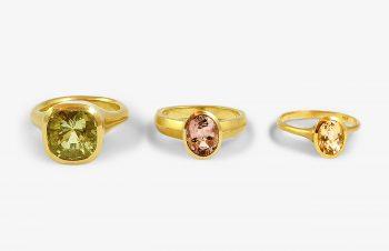 Klassische Ringe: Goldberyll, Turmalin, Citrin, 750er Gold