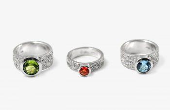 Klassische Ringe: Peridot, Feueropal, Aquamarin, Silber
