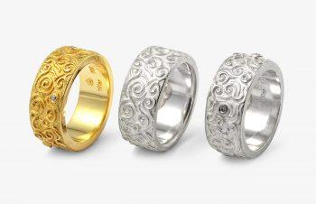 Klassische Ringe: Diamant, 750er Gold, Silber
