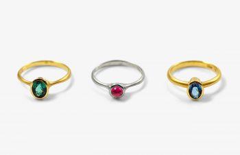 Klassische Ringe: Turmalin, Rubelit, Aquamarin, 750er Gold, Silber