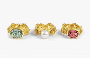 Klassische Ringe: Aquamarin, Süßwasserperle, Turmalin, 750er Gold