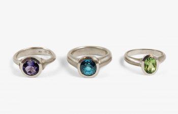 Klassische Ringe: Tansanit, Zirkon, Turmalin, 750er Gold