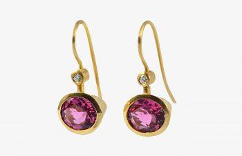 Klassischer-Ohrschmuck: Turmalin, Diamant, 750er Gold