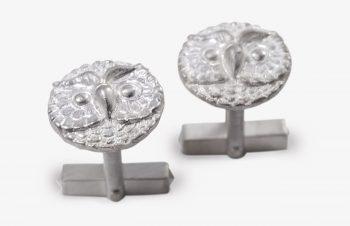 Manschettenknöpfe: Eulen, 925er Silber