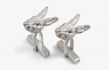 Manschettenknoepfe--Hasen-Silber