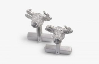 Manschettenknöpfe: Stiere, 925er Silber