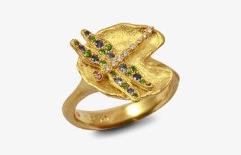 Tier-Ringe: Libelle 750er Gold, Edelsteine