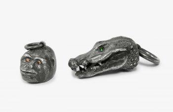 Tier-Anhänger: Gorilla, Krokodil, Silber, Edelstein