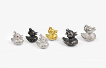 Tier-Anhänger: Quietschenten, 750er Gold, Silber, Edelstein