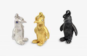 Tier-Anhänger: Pinguin, 750er Gold, Silber