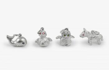 Tier-Anhänger: Tier-Babys, Silber, Edelstein