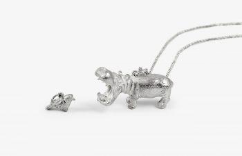 Tier-Anhänger: Flusspferd und Vogel, Silber
